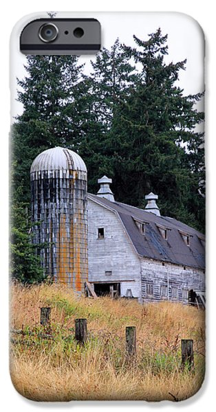 Pen And Ink Photographs iPhone Cases - Old Barn in Field iPhone Case by Athena Mckinzie