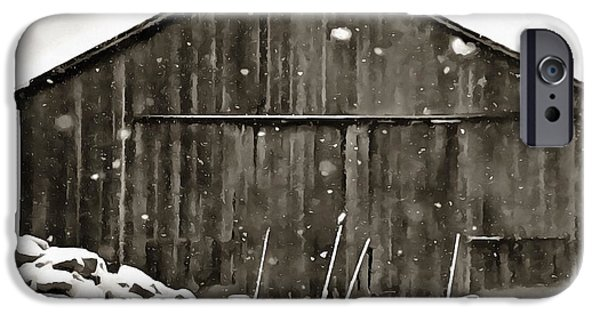 Barns In Snow iPhone Cases - Old Barn In Winter iPhone Case by Dan Sproul