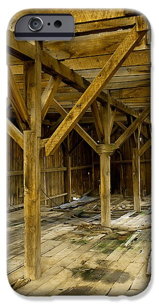 Old Barn iPhone Cases - Old Barn Interior 2 iPhone Case by Storm Smith
