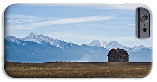 Old Barn iPhone Cases - Old Barn, Mission Mountains iPhone Case by Jedediah Hohf