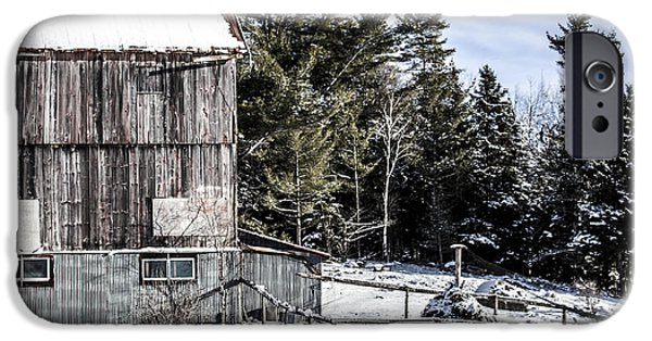 Old Barns Pyrography iPhone Cases - Old Barn iPhone Case by Olga Photography