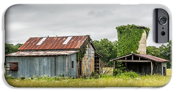 Arkansas iPhone Cases - Old barn with vine covered silo iPhone Case by Paul Freidlund
