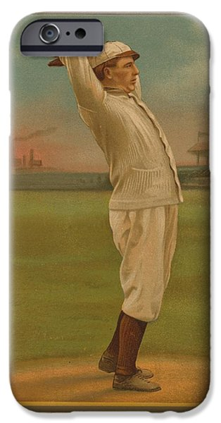 Baseball Stadiums iPhone Cases - Old baseball card iPhone Case by FL collection