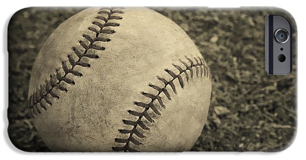 Base iPhone Cases - Old Baseball iPhone Case by Edward Fielding