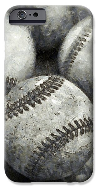 Sports iPhone Cases - Old Baseballs Pencil iPhone Case by Edward Fielding