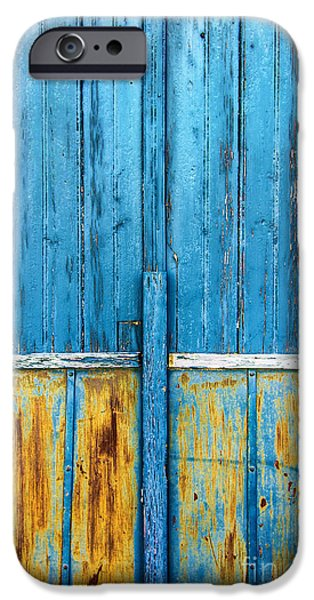 Shed iPhone Cases - Old Blue Door Detail iPhone Case by Carlos Caetano