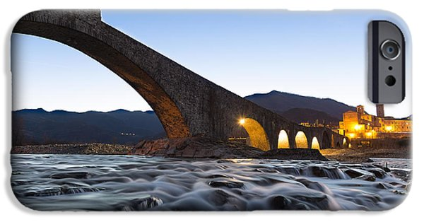 Village Tapestries - Textiles iPhone Cases - The humpbacked bridge in Bobbio iPhone Case by Marco Amenta
