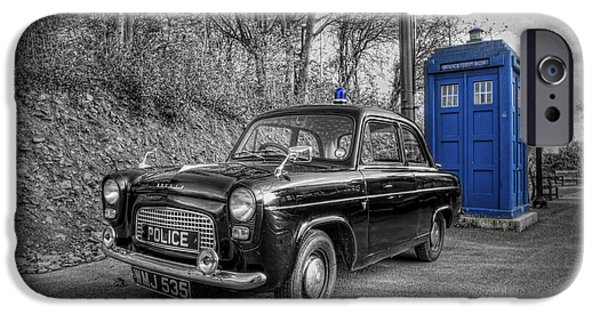 Police Art iPhone Cases - Old British Police Car And Tardis iPhone Case by Yhun Suarez