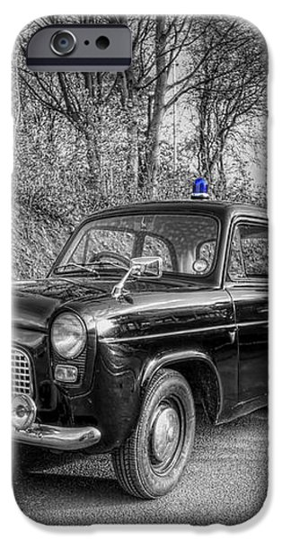 Old British Police Car And Tardis iPhone Case by Yhun Suarez