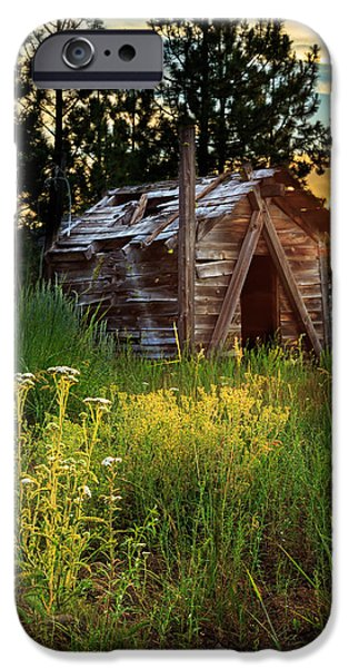 Recently Sold -  - Rural iPhone Cases - Old Cabin At Sunset iPhone Case by James Eddy