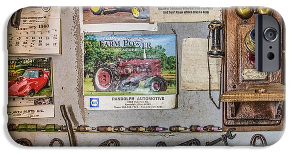 Workbench iPhone Cases - Old Calendars and a Vintage Phone iPhone Case by Debra and Dave Vanderlaan