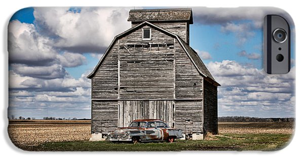 Scott Nelson Photographs iPhone Cases - Old Car and Barn iPhone Case by Scott Nelson