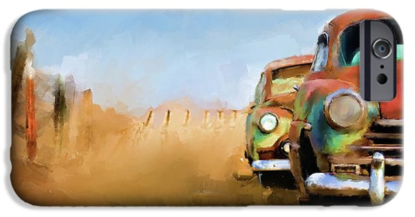 Time2paint iPhone Cases - Old Cars Rusting painting iPhone Case by Michael Greenaway