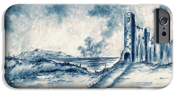 Ruin Drawings iPhone Cases - Old Castle Ruins iPhone Case by Michael Vigliotti