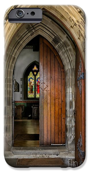 Wooden Door iPhone Cases - Old Church Entrance iPhone Case by Adrian Evans