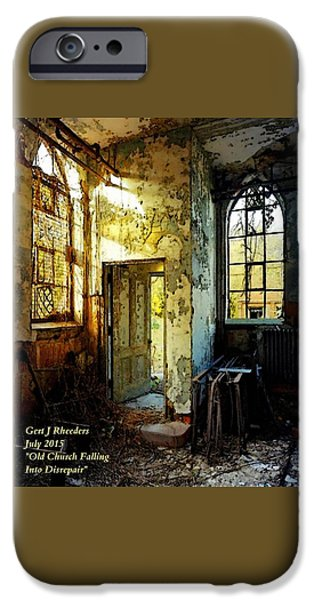 Abstract Digital Paintings iPhone Cases - Old Church Falling Into Disrepair  H A iPhone Case by Gert J Rheeders