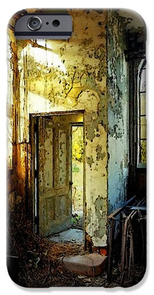 Abstract Digital Paintings iPhone Cases - Old Church Falling Into Disrepair  H B iPhone Case by Gert J Rheeders