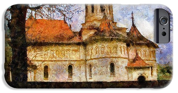 Buildings iPhone Cases - Old Church with Red Roof iPhone Case by Jeff Kolker