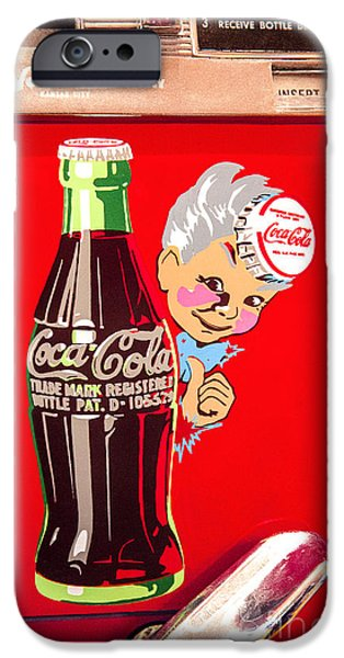 Model iPhone Cases - Old Coca-Cola red and white Coke Machine Vintage Vendo Model 44  iPhone Case by Jerry Cowart
