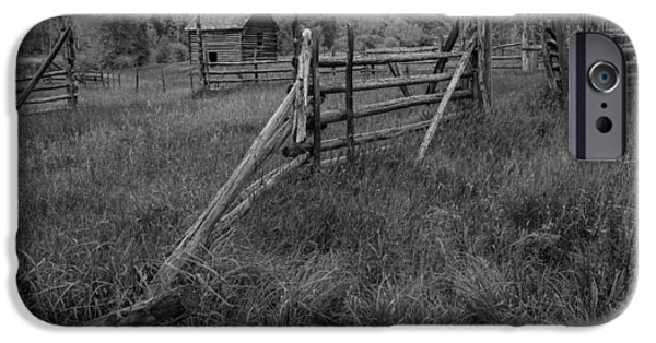 Old Barns Pyrography iPhone Cases - Old Corral and Barn BW iPhone Case by Rick Strobaugh