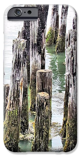 Maine iPhone Cases - Old Dock Remains iPhone Case by Elizabeth Dow