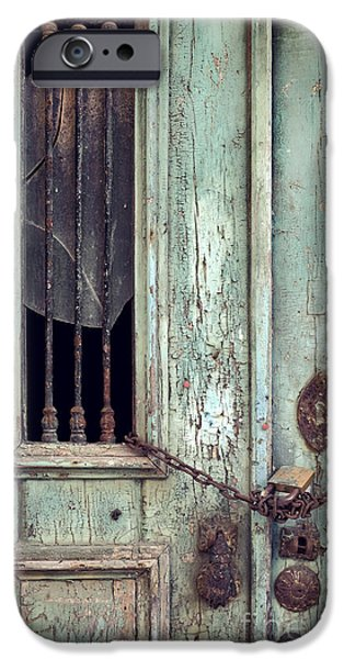 Entrance Door Photographs iPhone Cases - Old Door Detail iPhone Case by Carlos Caetano