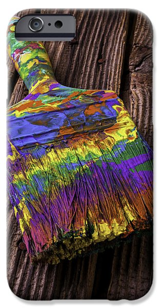 Mess iPhone Cases - Old Dried Paintbrush iPhone Case by Garry Gay