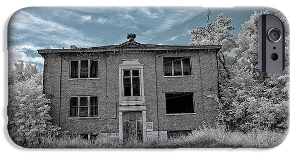 Haunted Schools iPhone Cases - Old Edmonton High School IR 2 iPhone Case by Amber Flowers