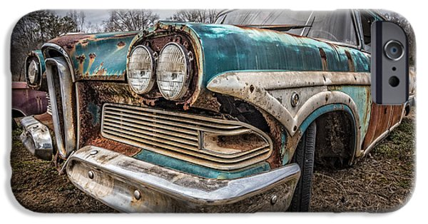 1949 Plymouth iPhone Cases - Old Edsel iPhone Case by Debra and Dave Vanderlaan