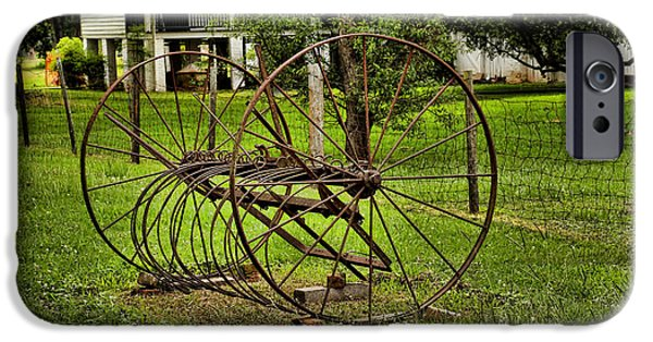Antiques iPhone Cases - Old Farm Equipment iPhone Case by Judy Vincent