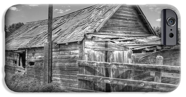 Agriculture iPhone Cases - Old Farm Shed in Monochrome iPhone Case by Jim Sauchyn
