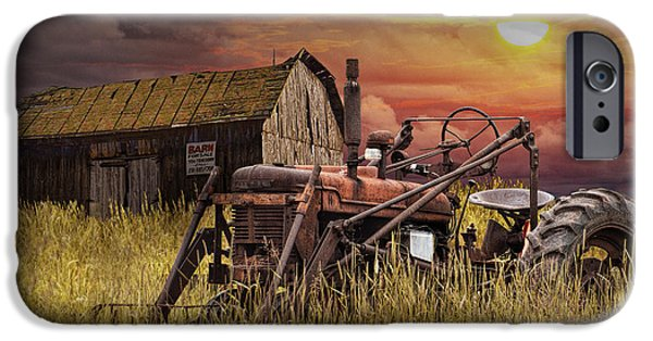 Machinery iPhone Cases - Old Farmall Tractor with Barn for Sale iPhone Case by Randall Nyhof