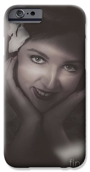 Duo Tone iPhone Cases - Old film noir photo on the face of a 1920s lady iPhone Case by Ryan Jorgensen