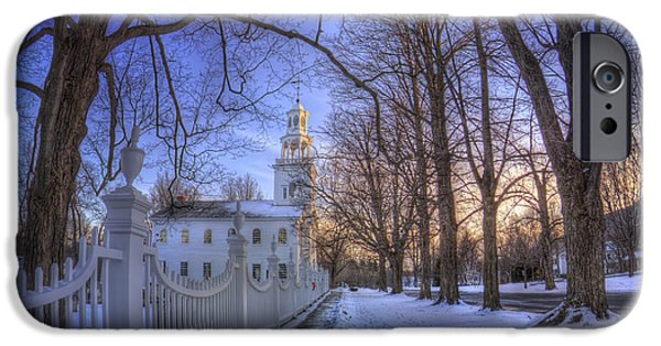 Winter Scene iPhone Cases - Old First Church - Bennington Vt. iPhone Case by Joann Vitali
