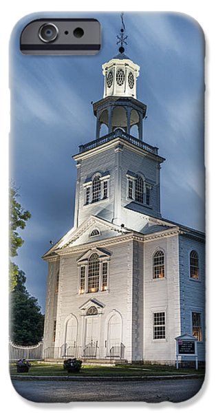 Village iPhone Cases - Old First Church of Bennington iPhone Case by Stephen Stookey