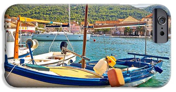 Sailboat Ocean iPhone Cases - Old fishermen harbor of Stari Grad iPhone Case by Dalibor Brlek