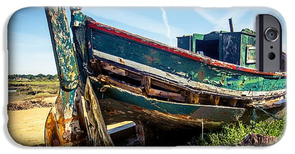 Boat iPhone Cases - Old Fishing Boat iPhone Case by Carlos Caetano