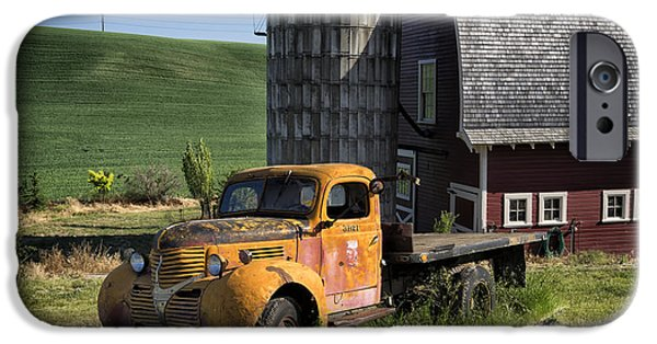 Old Barns iPhone Cases - Old Flatbed Farm Truck DSC04714 iPhone Case by Greg Kluempers