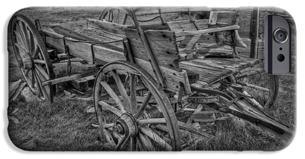 Ghosts Pyrography iPhone Cases - Old Freight Wagon BW iPhone Case by Rick Strobaugh