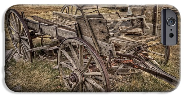 Ghosts Pyrography iPhone Cases - Old Freight Wagon iPhone Case by Rick Strobaugh