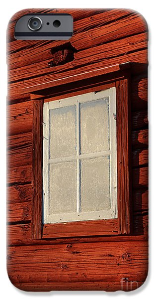 Cabin Window iPhone Cases - Old frosty window on old red Swedish cabin iPhone Case by Kerstin Ivarsson