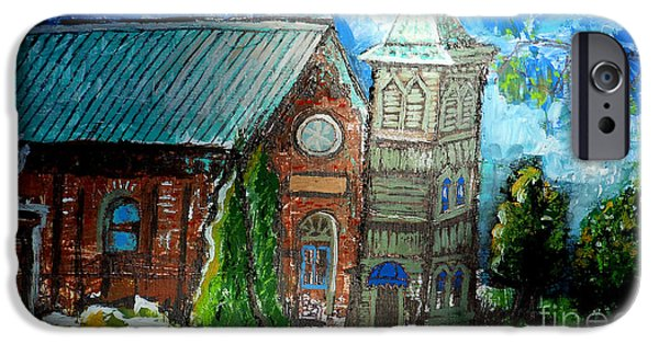 River View Drawings iPhone Cases - Old German Church In New Melle Missouri iPhone Case by Genevieve Esson