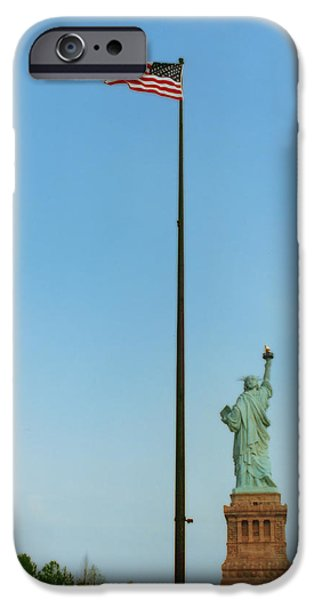 Old Glory iPhone Cases - Old Glory and Lady Liberty iPhone Case by Mark Fuller