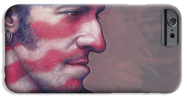 Bruce Springsteen Paintings iPhone Cases - Old Glory Days iPhone Case by David Farren