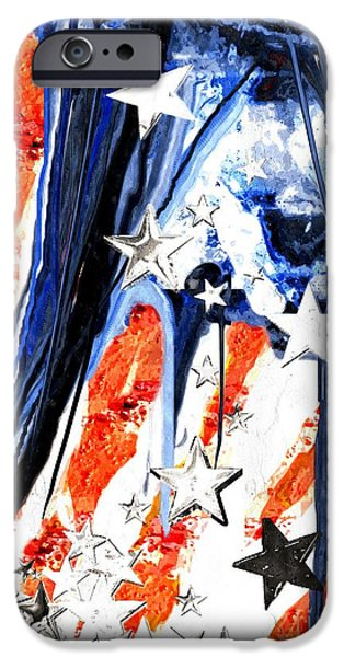 Old Glory Mixed Media iPhone Cases - Old Glory Falling Stars 2 iPhone Case by Daniel Janda