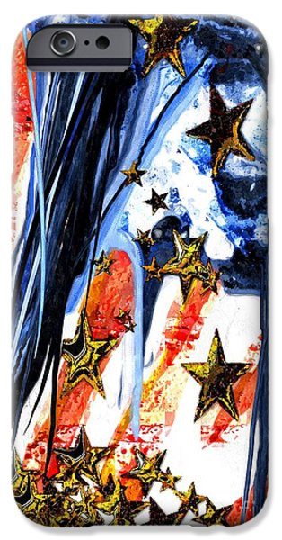 Old Glory Mixed Media iPhone Cases - Old Glory Falling Stars iPhone Case by Daniel Janda