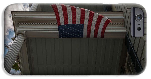 Old Glory iPhone Cases - Old Glory Flying Strong iPhone Case by Dale Powell