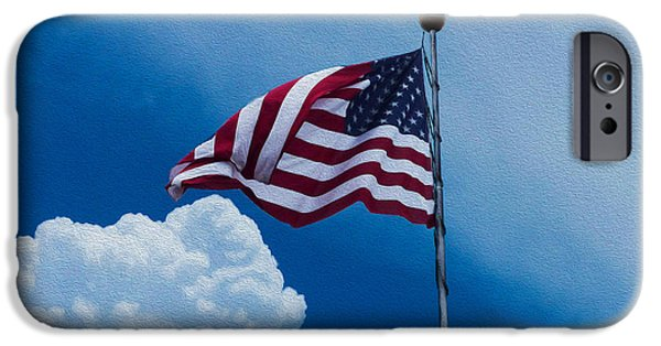 Old Glory iPhone Cases - Old Glory In A Summer Sky iPhone Case by Robert J Sadler