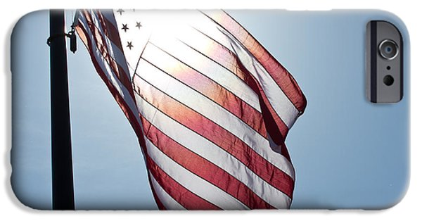 Stripes iPhone Cases - Old Glory - Long May She Wave iPhone Case by Marie Jamieson