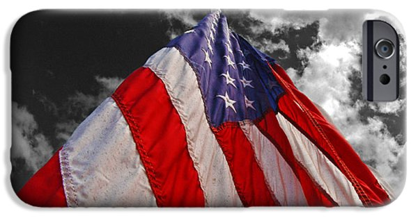 Old Glory iPhone Cases - Old Glory on Mono Sky iPhone Case by Rick Bravo